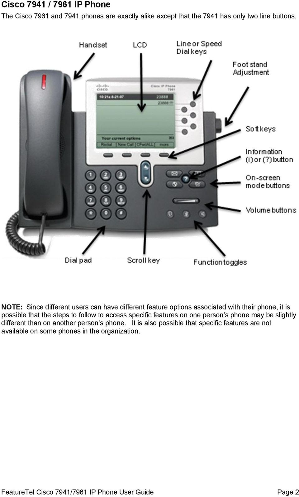 Cisco 7941 / 7961 IP Phone User Guide - PDF