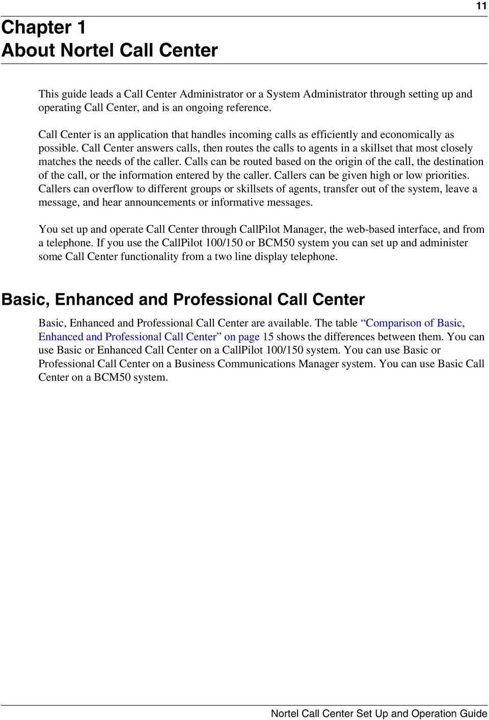 Nortel Call Center Set Up and Operation Guide - PDF