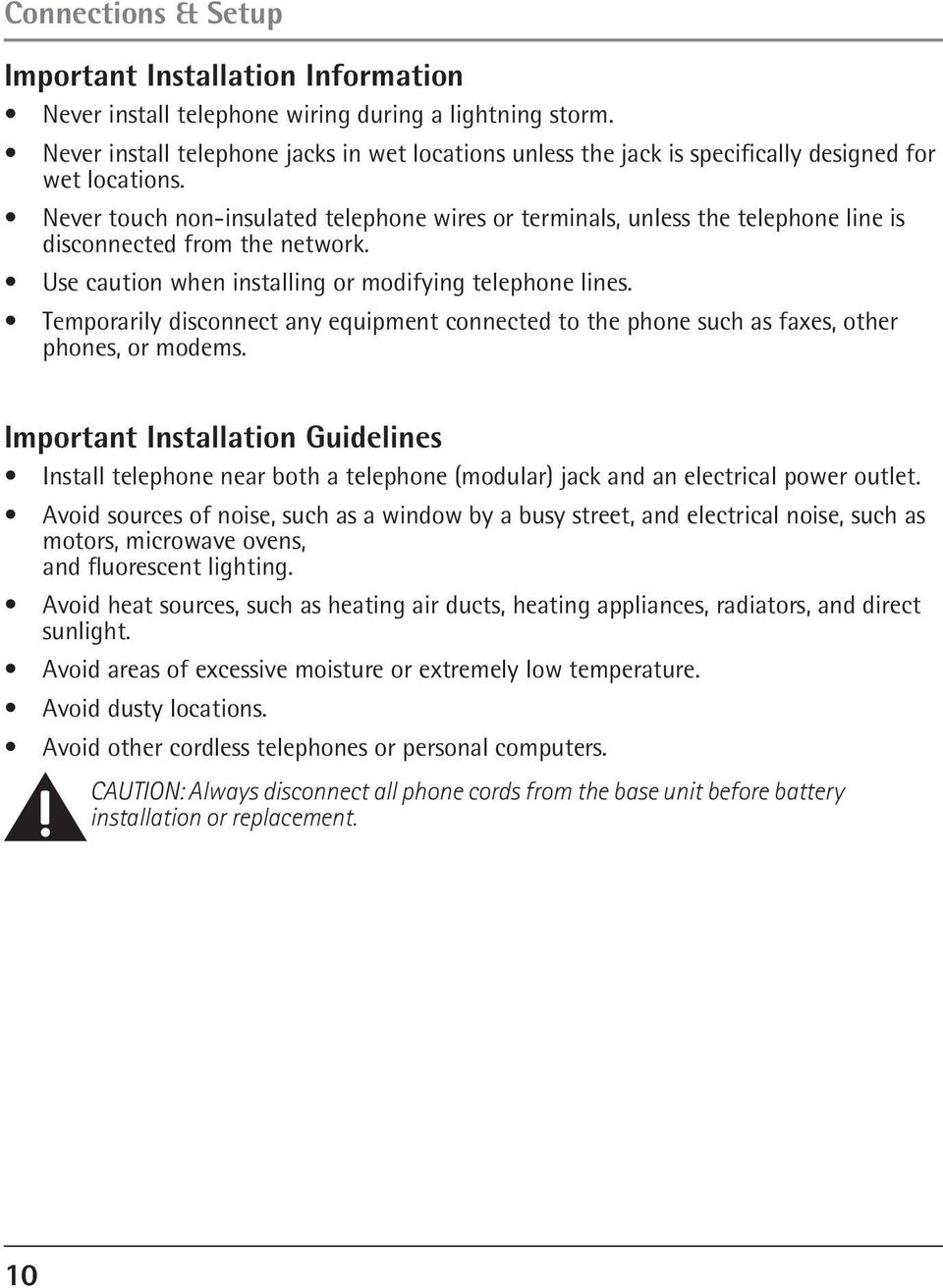 Model 25423 24 4 Line Intercom Speakerphone User S Guide Quick How To Connect Telephone Wires Never Touch Non Insulated Or Terminals Unless The Is Disconnected 11 Connections