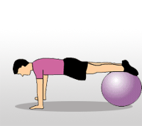 Knee Tuck on Stability Ball 1. Start in a push up position and your shins on top of the stability ball. 2.