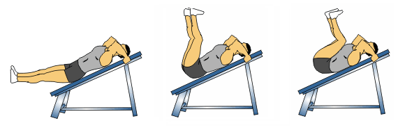 Decline Hip thrust 1. Lie on a decline bench with your head at the top and feet towards the floor. 2.