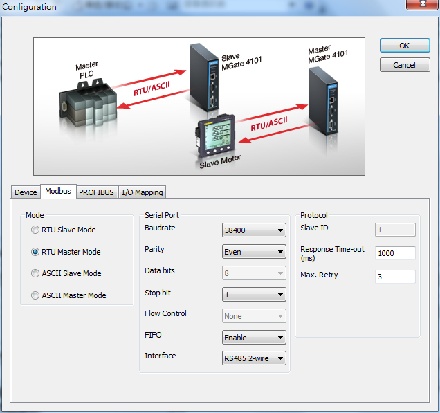 4. Select the Modbus tab and configure the fields as shown