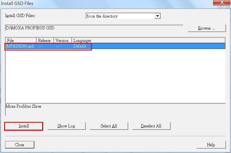 2. In the Install GSD Files screen, click Browse to navigate to the folder and select the GSDML