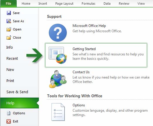 How to get started with Excel 2010 If you ve been using Microsoft Excel 2003 for a long time, you ll no doubt have questions about where to find Excel 2003 commands and toolbar buttons in Excel 2010.