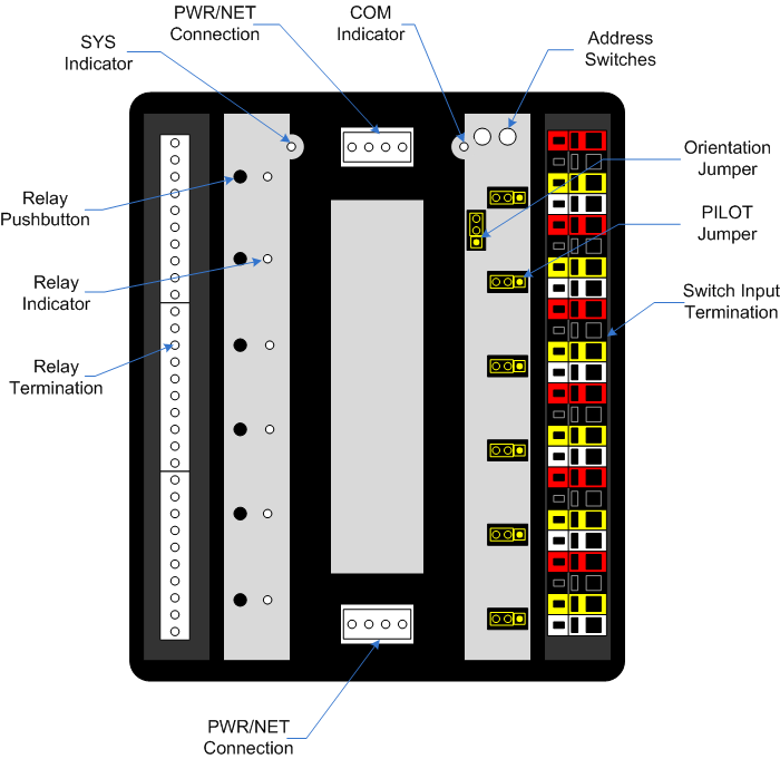 relay modules clcrms6 addressable controls up to six ge rr9 relays local  push button control of