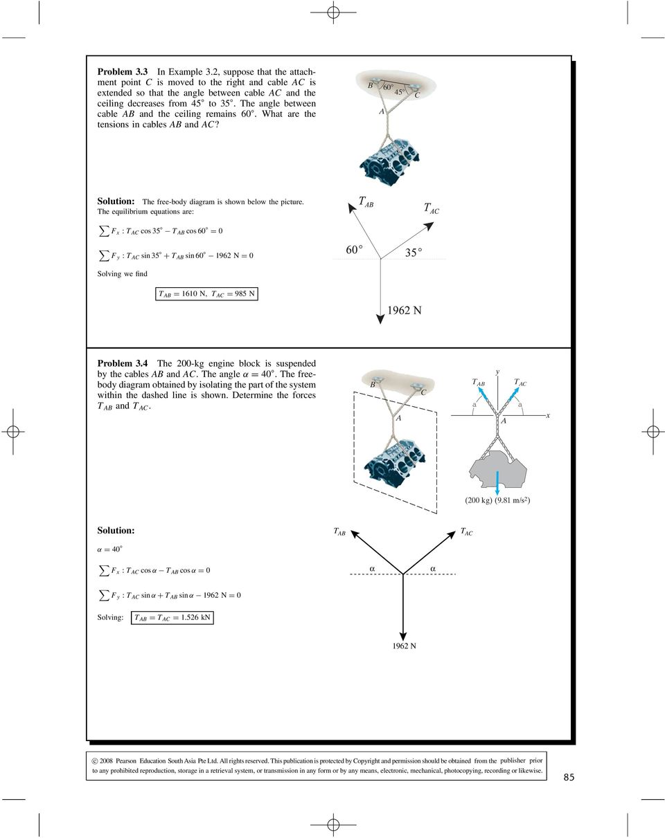 Solution The Free Body Diagram Is Shown To Right Applying Air Resistance Movies In He Equilibrium Equations Are F Cos 35 60 0 Sin