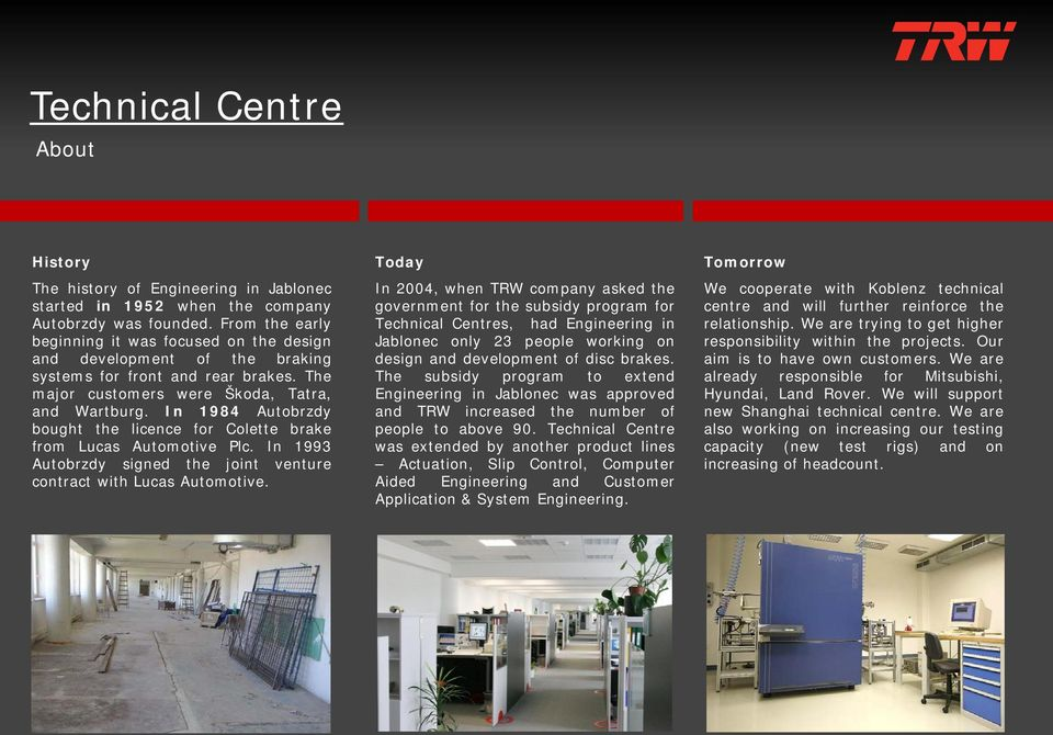 Technical Centre  About Departments Contact - PDF
