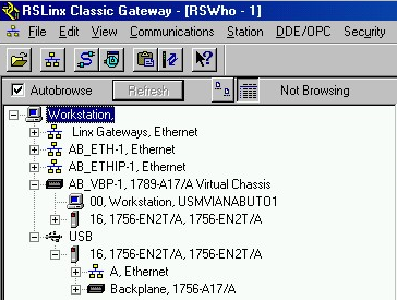 Chapter 6 USB Communication 5. In RSLinx Classic software, from the Communications menu, choose RSWho. The RSLinx Workstation organizer appears.