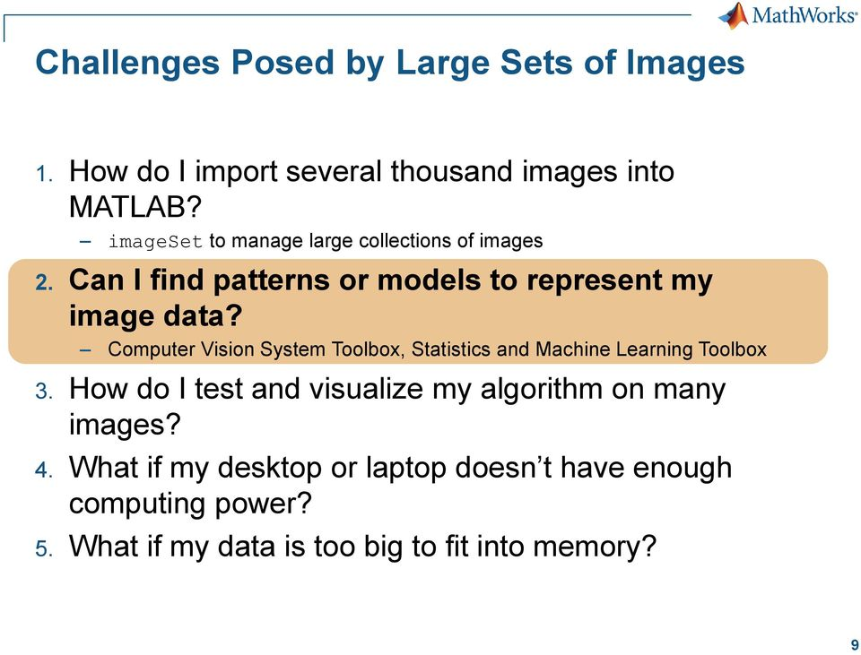 Solving Big Data Problems in Computer Vision with MATLAB