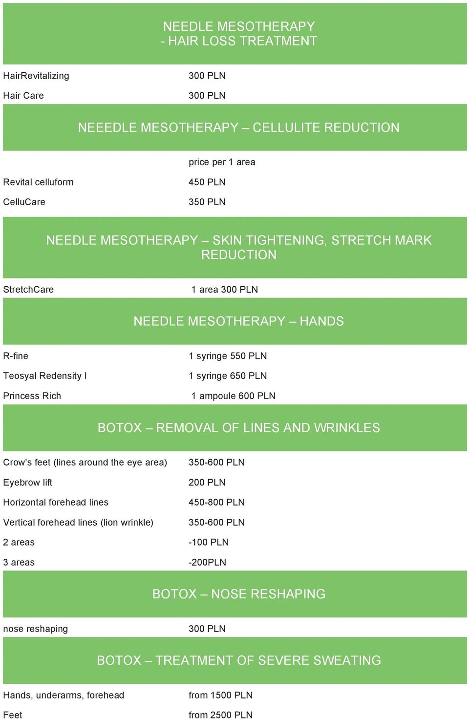 Price List AESTHETIC MEDICINE NEEDLE MESOTHERAPY FACE, NECK, CHEST