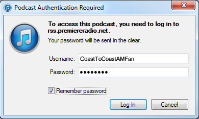When prompted within itunes, enter your Coast Insider username and password and checkmark Remember password.