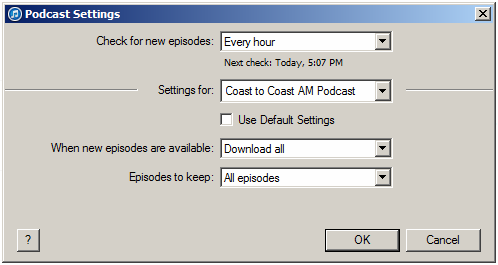 Setting up the itunes Auto-Download Feature for the Coast to Coast AM Podcast Click the gear icon to the right of the podcast in the main Podcast library pane.