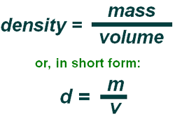 green-planet-solar-energy.com Density is defined as mass divided by volume (mass/volume).