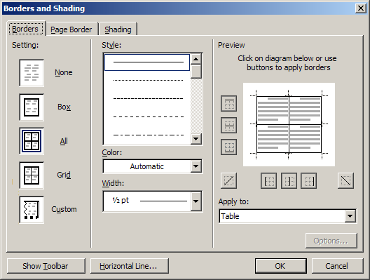 Borders Tab Figure 5: Borders and Shading dialog box - Borders tab selected Be certain the Borders tab is selected.