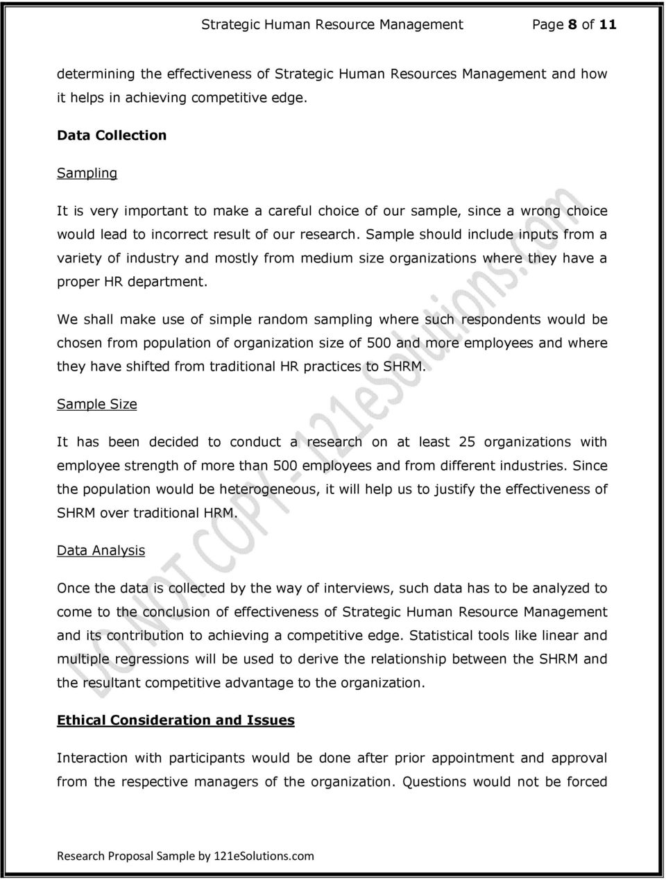 Research Proposal on Strategic Human Resource Management - PDF
