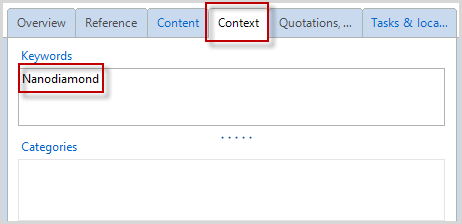 each reference. In the Reference Editor click on the Context tab Type keywords into the Keywords box.