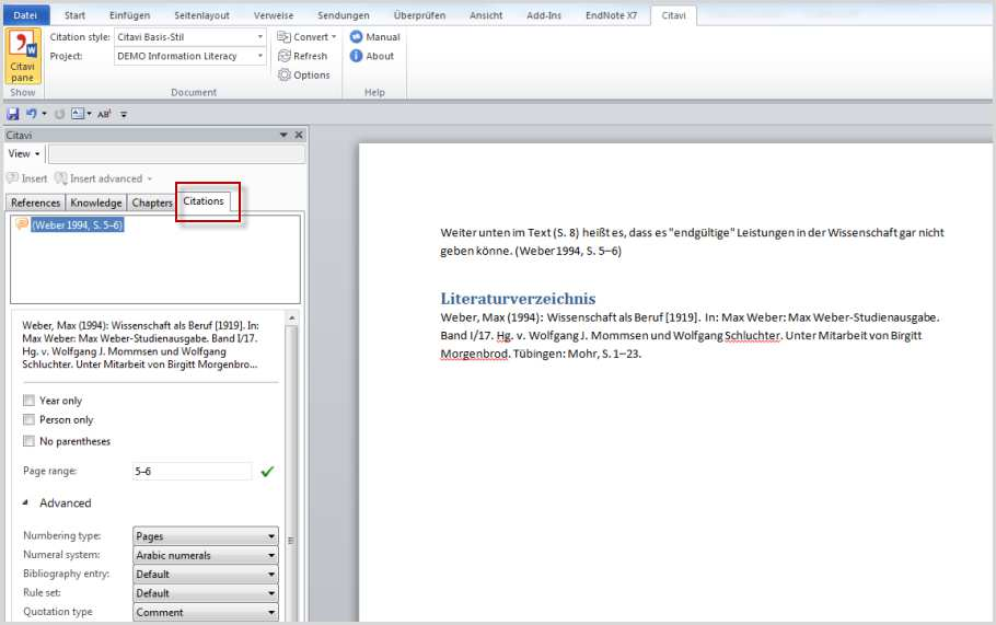 Creating Publications with Word: Inserting Knowledge Items If you are using a citation style that uses footnotes, Citavi will insert the knowledge item into the main text and the citation in a