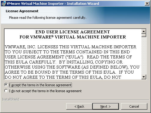 CHAPTER 2 Installing the VMware Virtual Machine Importer A splash panel appears momentarily. 4.