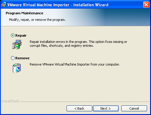 CHAPTER 2 Installing the VMware Virtual Machine Importer Uninstalling or Repairing the VMware Virtual Machine Importer To uninstall or reinstall the VMware Virtual Machine Importer: 1.