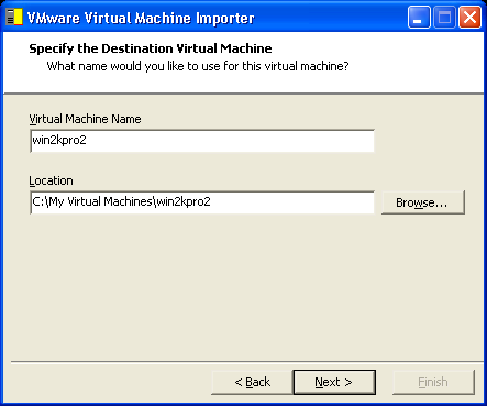 CHAPTER 3 Using the VMware Virtual Machine Importer 4. Browse or (type the path) to the source Virtual PC virtual machine. Click Next. The importer inspects the file.