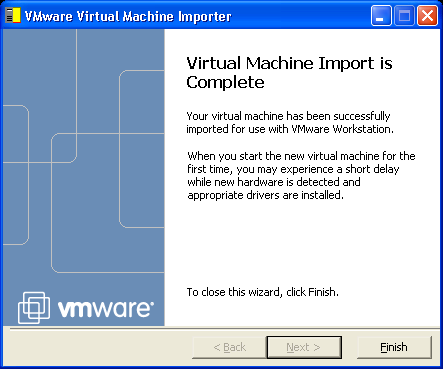CHAPTER 3 Using the VMware Virtual Machine Importer 8. Review the settings. To make changes, click Back. To proceed, click Next.