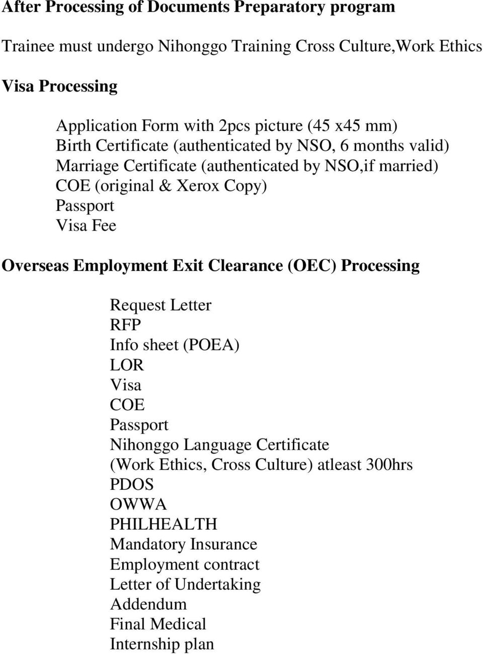 passport visa fee overseas employment exit clearance oec processing request letter rfp info sheet