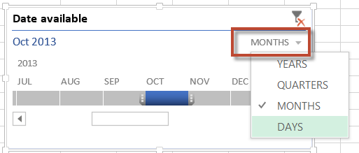 When you select a range of time only these values are display in your PivotTable.