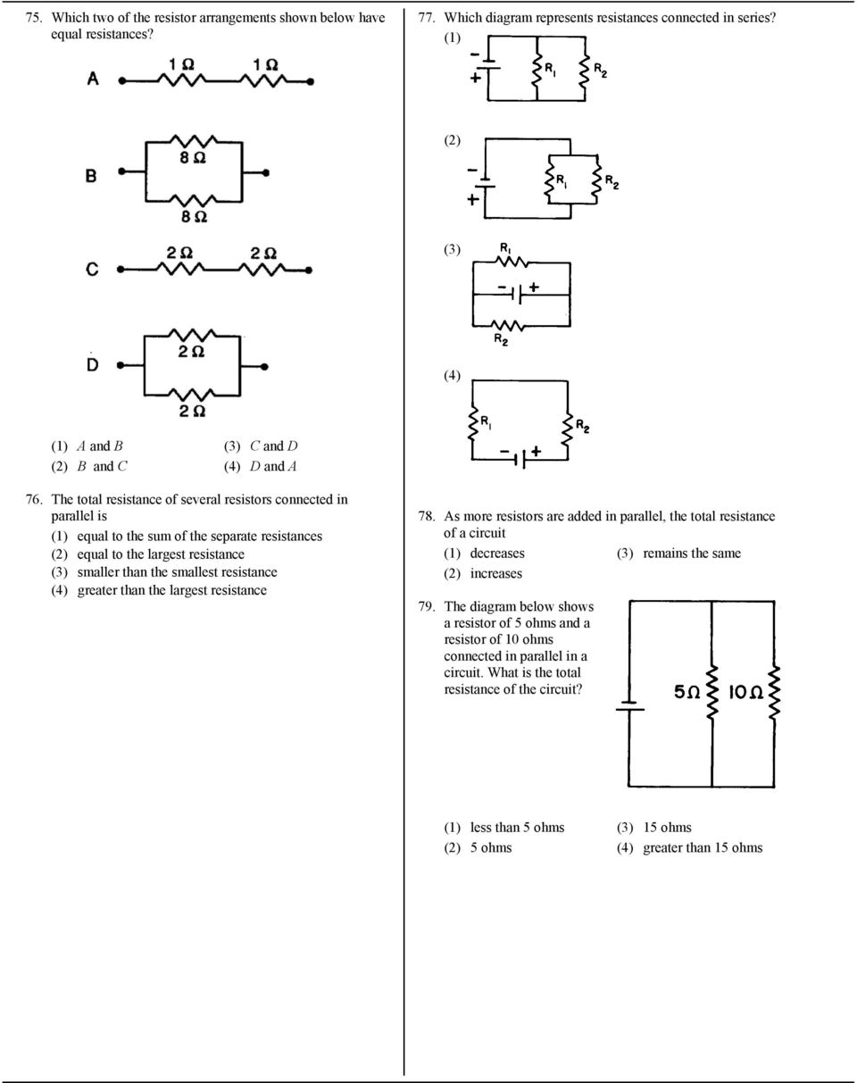 7 What Is The Current In A Circuit If 15 Coulombs Of Electric Resistors Equivalent Resistance Below Greater Than Largest 78 As More Are Added Parallel