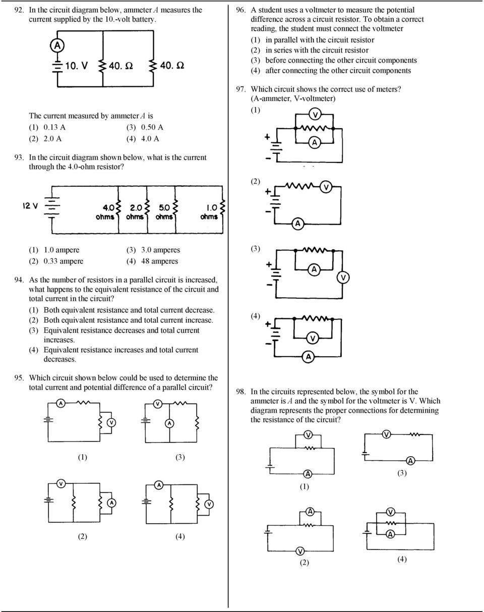 7 What Is The Current In A Circuit If 15 Coulombs Of Electric Square Equivalent Resistance Resistor To Obtain Correct Reading Student Must Connect Voltmeter Parallel With