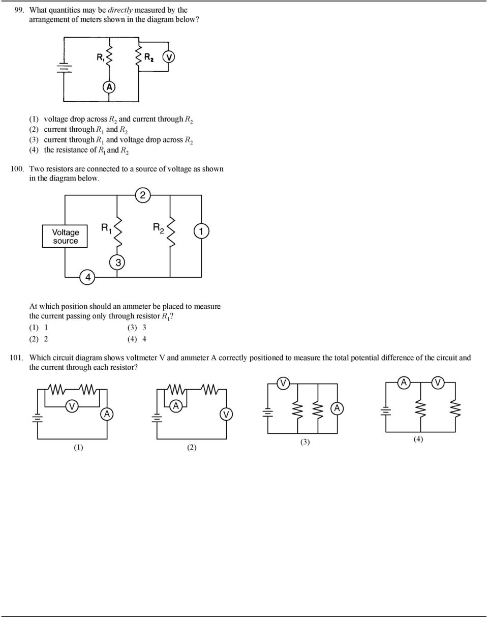7 What Is The Current In A Circuit If 15 Coulombs Of Electric Meter Wiring Diagram Usefulldatacom Ammeter Schematic And Two Resistors Are Connected To Source Voltage As Shown Below 16 102 Which Represented Meters
