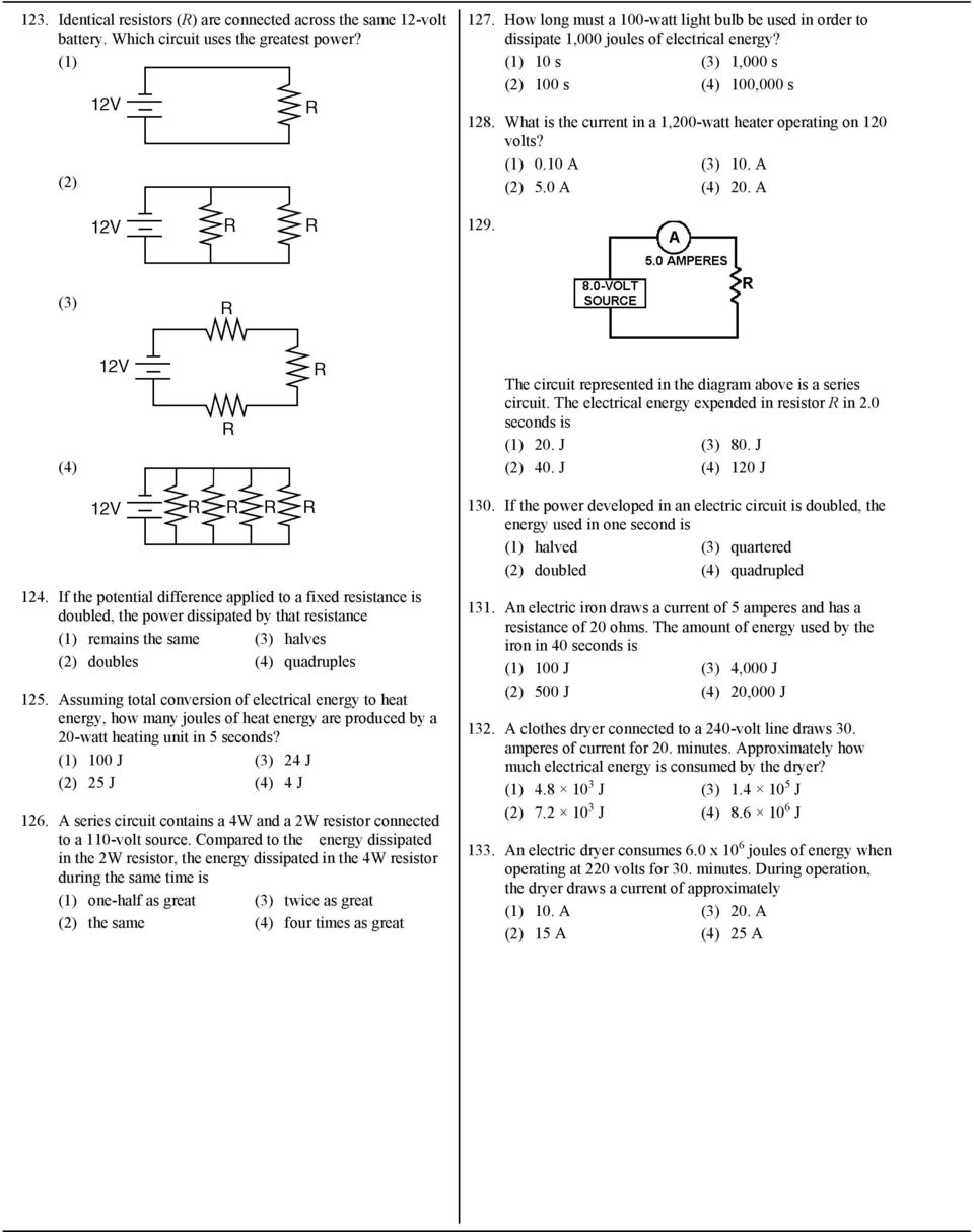 7 What Is The Current In A Circuit If 15 Coulombs Of Electric Electricity And Circuits Lessons Exercises Practice Tests 1200 Watt Heater Operating On 120 Volts 010