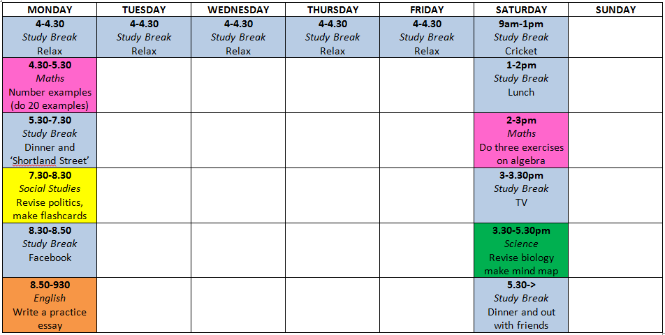 Prepare your time Revision Timetable Plan your revision for the free time you have each day and at weekends.