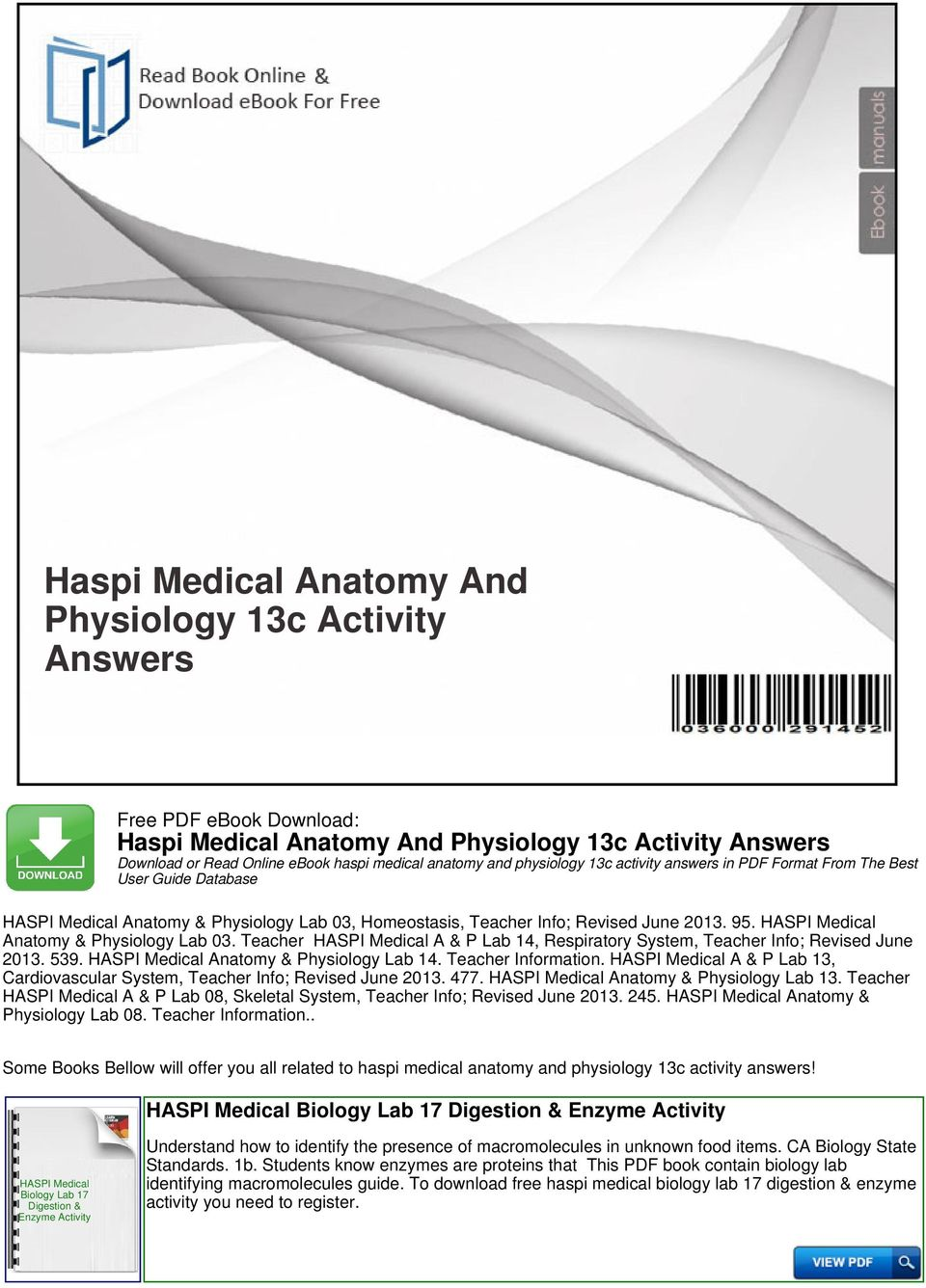 Haspi Medical Anatomy And Physiology 13c Activity Answers - PDF