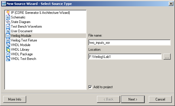 Figure 38: New Source Dialog 1 of 3 Select Verilog Module to indicate you are creating a Verilog-HDL design module.