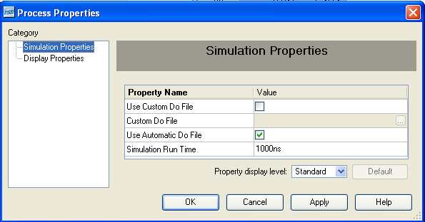 Figure 46: Simulation Process Properties If you do not have all the properties shown in Figure 46, you can make them visible by canceling the dialog box, then selecting Edit Preferences from the main