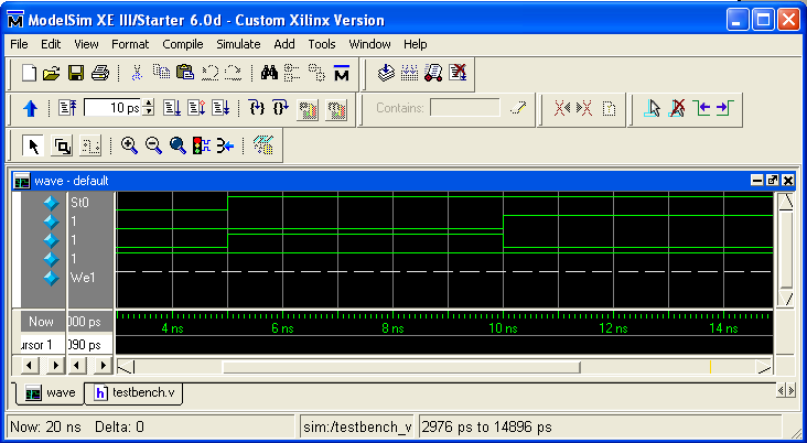 Figure 49: Modelsim Signals Window The fourth and final window is the wave window, which is used to display simulated waveforms.