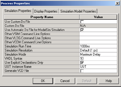 Figure 57: Simulation Process Properties Make sure the properties are set as shown in Figure 57.