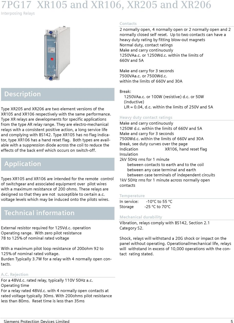 Reyrolle Protection Devices 7pg17 Xr Intertripping Interposing Relays Power Distribution 5 Pin Relay 12v 24v C Or 7500wdc Within The Limits Of 660v And 30a Description Type