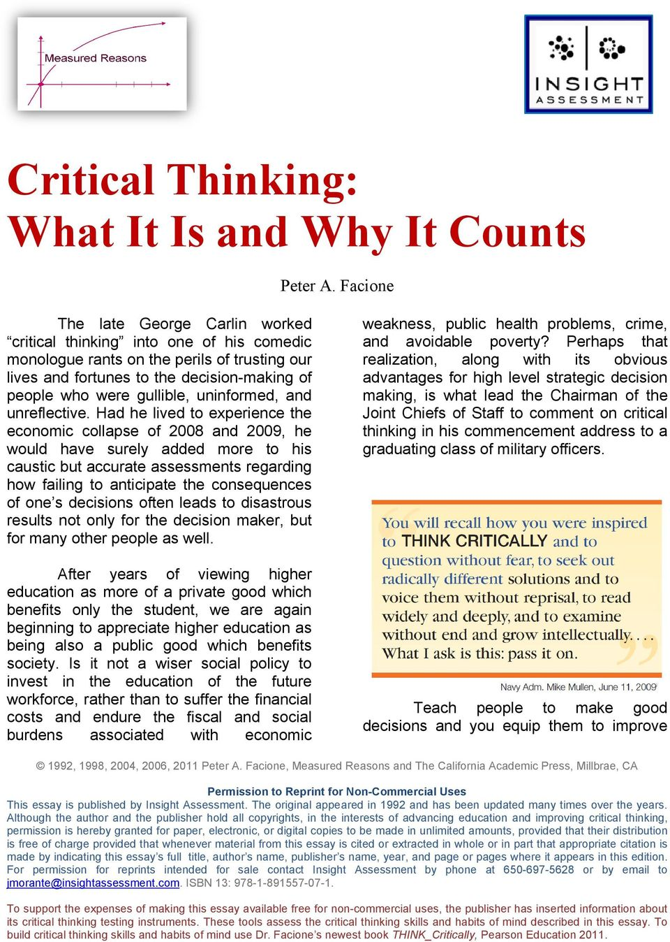 facione critical thinking what it is and why it counts 2010