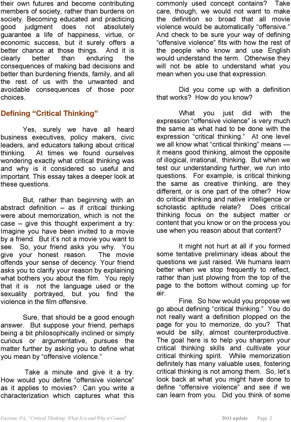 facione pa critical thinking what it is and why it counts