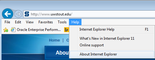 b) the little help icon at the top of the IE window, or c) the Help menu item Then, click on About Internet Explorer.