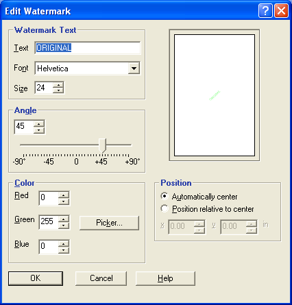 PRINTING 41 2 Select a watermark from the menu and click Edit. The Edit Watermark dialog box appears. 1 Preview area 1 3 Specify Font and Size of the text in the Watermark Text area.