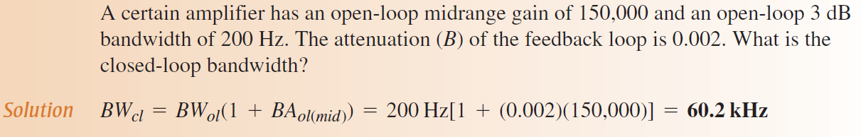 12.7: Closed-Loop Frequency and Phase Response The midrange gain of an op-amp is reduced by negative feedback, as indicated by the following closed-loop gain expressions for the three amplifier Since