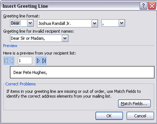 14. Click OK to close the Insert Address block window. 15. Place your cursor where you want the greeting to appear. Then, select Greeting line. Figure 36 Greeting Line 16.