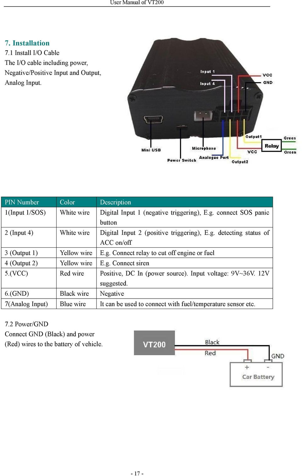 User Manual Of Vt200 Gps Vehicle Tracker Model Price Rfid Car Immobilizer Wireless Relay Fuel Pump Circuit Cut Off G Detecting Status Acc On 3 Output 1 Yellow Wire