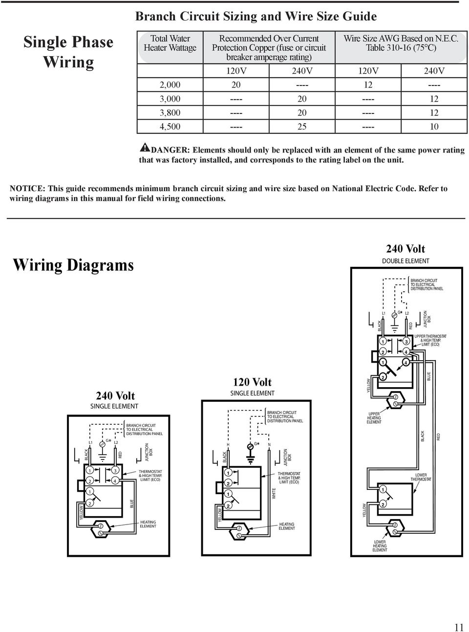 Use Care Manual Electric Water Heaters With Installation 120v Vs 240v Baseboard Heater Wiring Diagram Danger Elements Should Only Be Replaced An Element Of The Same Power Rating That