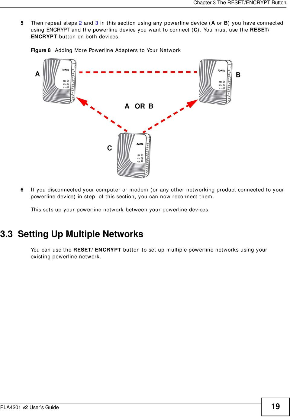 Figure 8 Adding More Powerline Adapters to Your Network A B A OR B C 6 If you disconnected your computer or modem (or any other networking product connected to your powerline device)