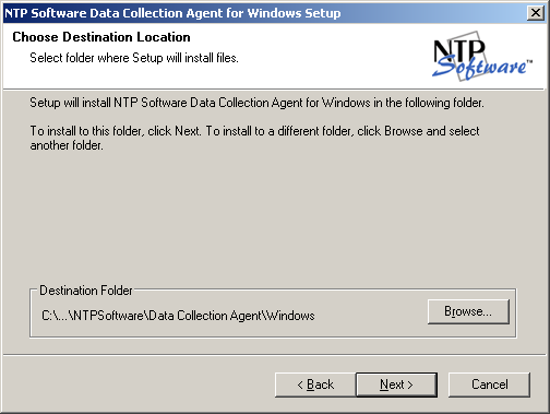 6. Choose the destination location for the installed software. Click Next. 7. Enter a Windows user account to run the data collection agent.