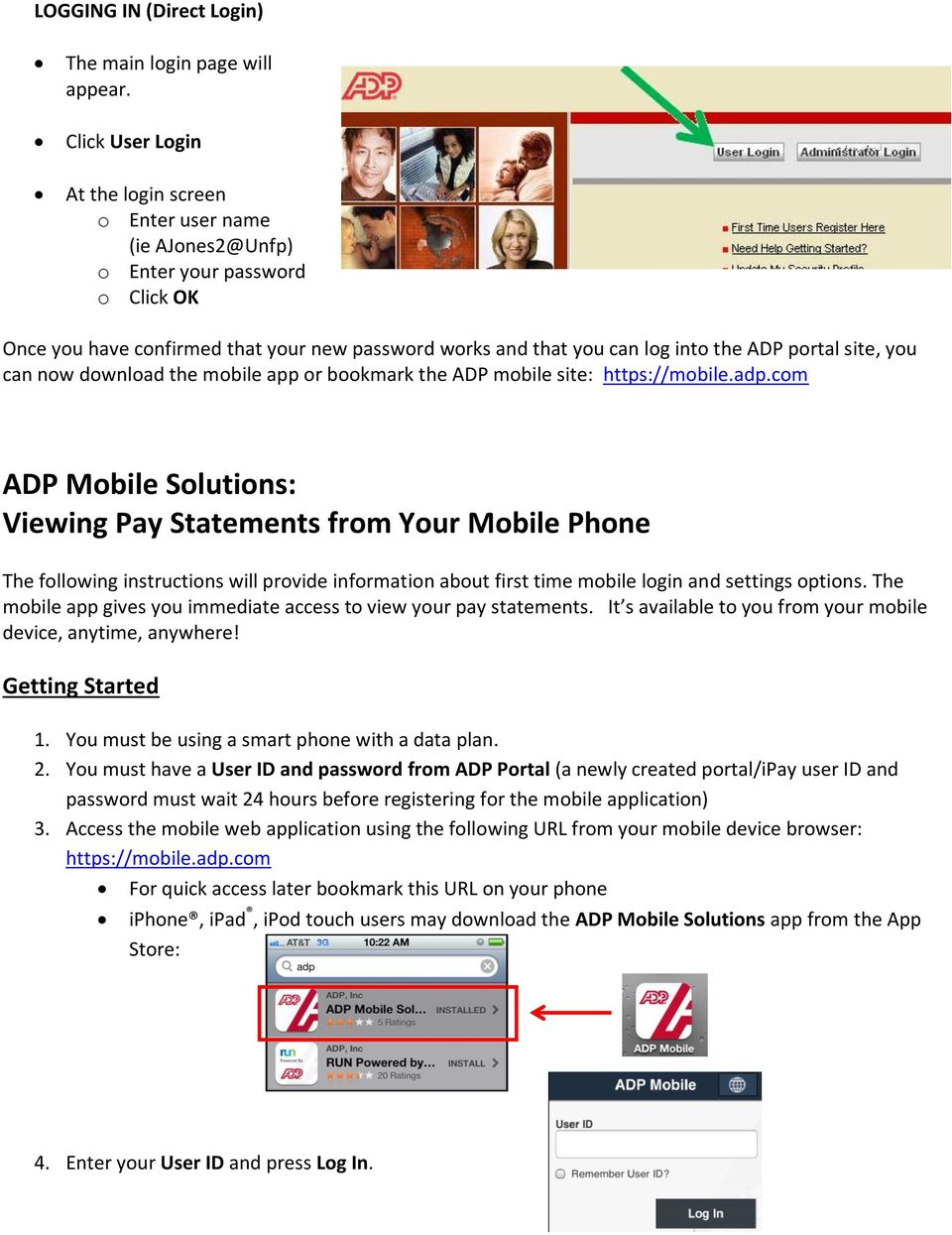 ADP Mobile Solutions: Register to use the ADP Mobile App - PDF