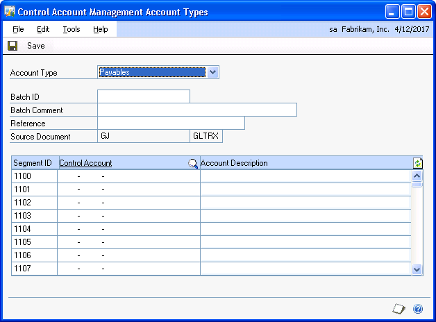 PART 1 CONTROL ACCOUNT MANAGEMENT Setting up Control Account Management You can use the Control Account Management Setup window to set up Control Account Management after you ve installed it.